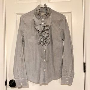 J. Crew Gray & White Striped Ruffle Button-Down